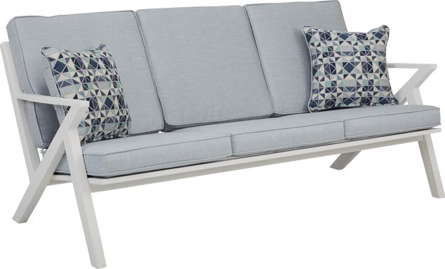 Acadia White Outdoor Sofa with Hydra Cushions