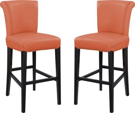 Ackerson Way Orange Barstool, Set of 2