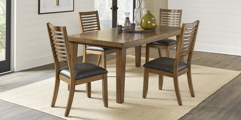 Acorn Cottage Brown 5 Pc Dining Room with Ladder Back Chairs