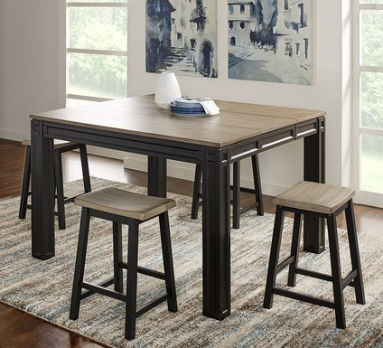 adelson black 5 pc counter height dining room table