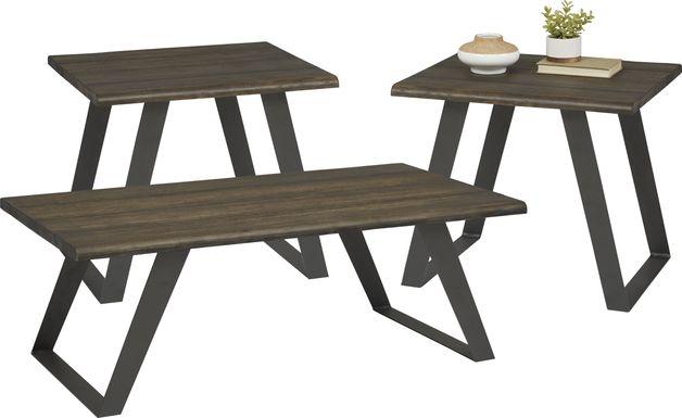 Aden Dark Brown 3 Pc Table Set