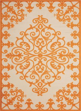 Adilen Orange 5' x 8' Indoor/Outdoor Rug