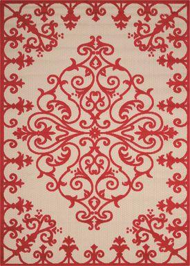 Adilen Red 5' x 8' Indoor/Outdoor Rug