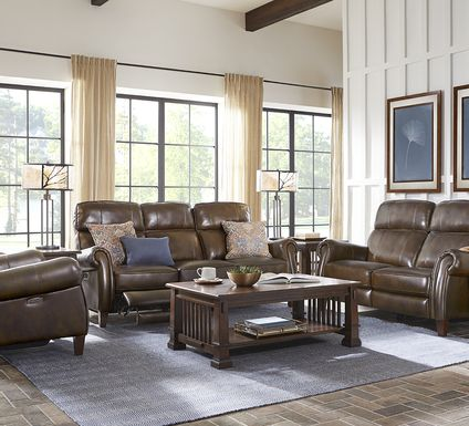 Adorelli Chocolate 5 Pc Leather Dual Power Reclining Living Room