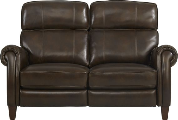 Adorelli Chocolate Leather Dual Power Reclining Loveseat