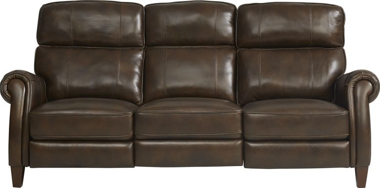 Adorelli Chocolate Leather Dual Power Reclining Sofa