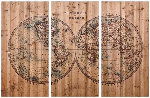 Aged World Map Set of 3 Artwork