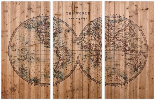 Aged World Map Set of 3 Artwork