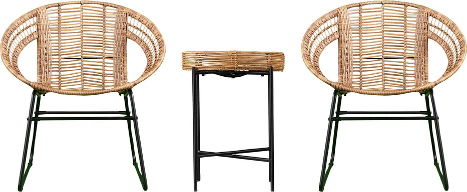 Agincourt Natural Outdoor 3 Pc Bistro Set