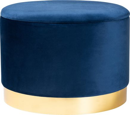 Ailanthus Navy Blue Ottoman