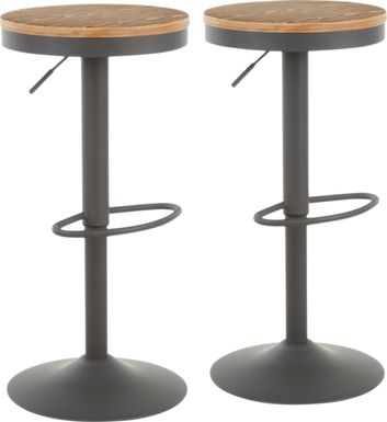 Airwood Gray Adjustable Barstool, Set of 2
