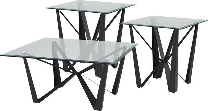 Alain Black 3 Pc Table Set