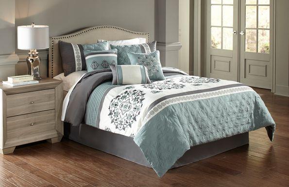Aldea Blue 7 Pc Queen Comforter Set