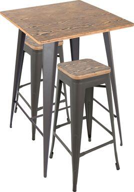 Aldersyde Brown 3 Pc Bar Height Table Set