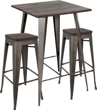Aldersyde Espresso 3 Pc Bar Height Table Set