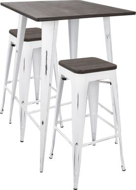 Aldersyde White 3 Pc Bar Height Table Set