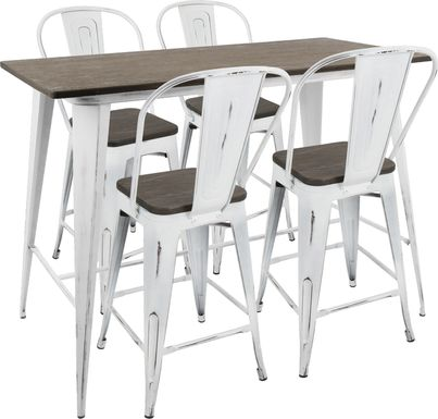 Aldersyde White High Back 5 Pc Counter Height Table Set