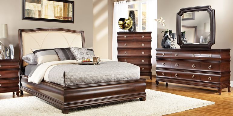 Alexi Cherry 5 Pc King Panel Bedroom with Cream Inset