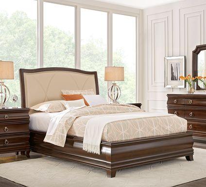 Alexi Cherry 5 Pc Queen Panel Bedroom with Cream Inset