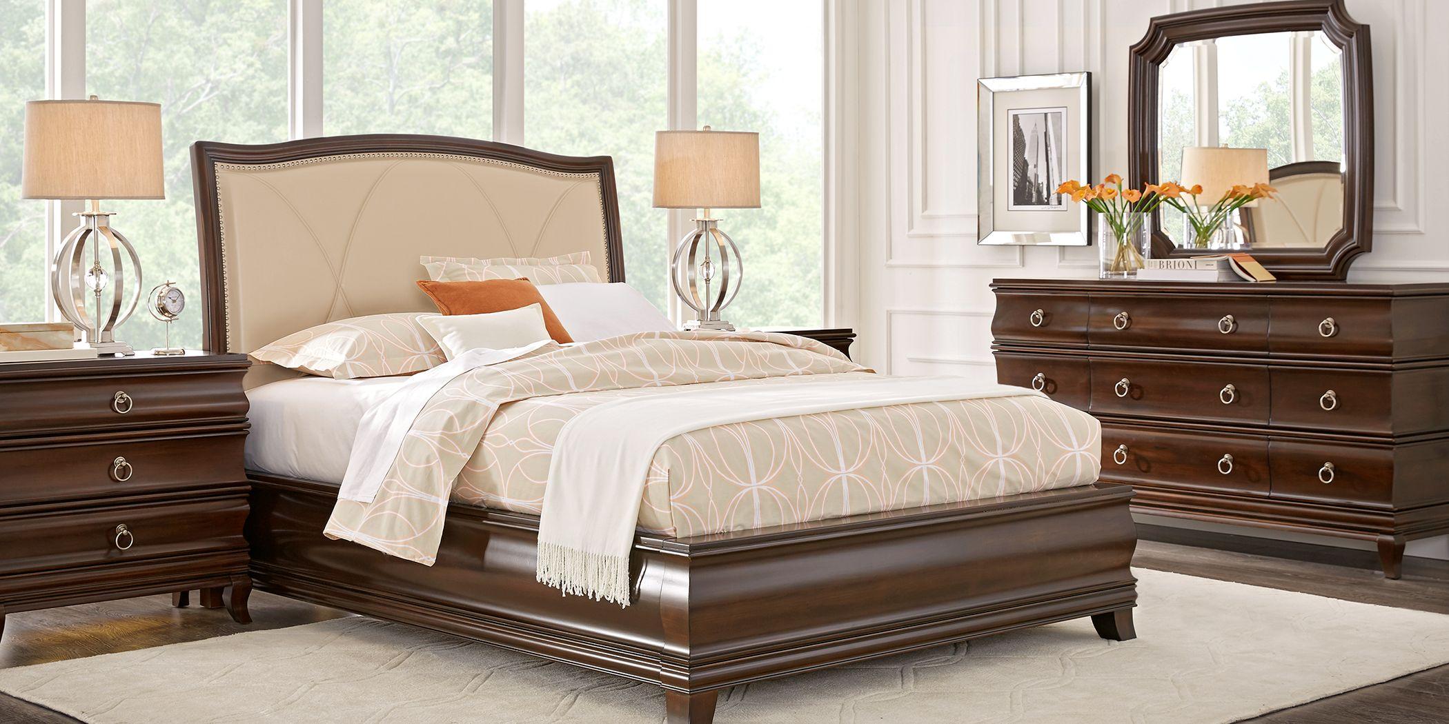 Alexi Cherry 7 Pc Queen Panel Bedroom with Cream Inset