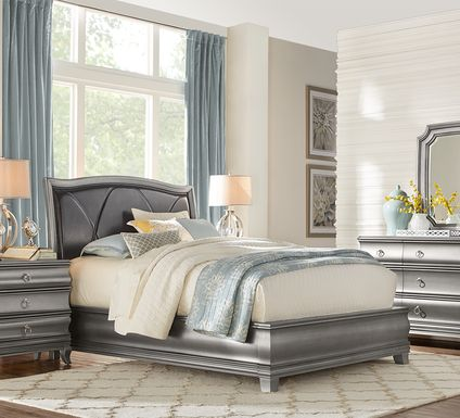 Alexi Silver 7 Pc King Panel Bedroom with Chocolate Inset