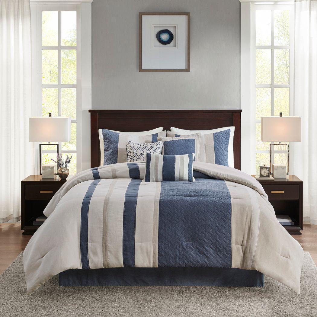 Alima Blue 7 Pc King Comforter Set