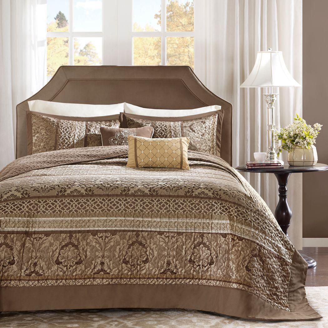 Alondria Brown 5 Pc Queen Bedspread Set
