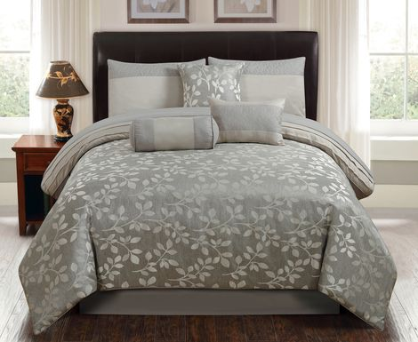 Alucia Silver 7 Pc Queen Comforter Set