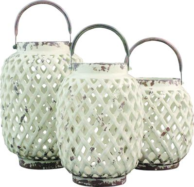 Alyda White Lantern Set of 3