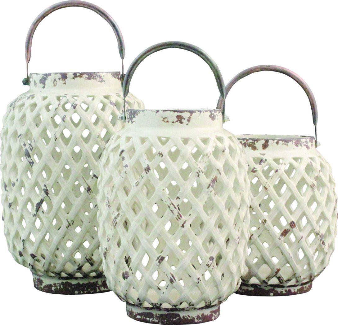 Alyda White Lantern Set of 3