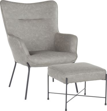 Amacker Gray Accent Chair and Ottoman