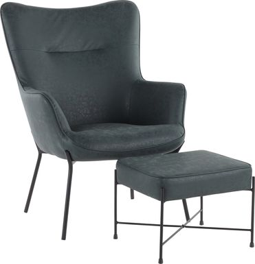 Amacker Green Accent Chair and Ottoman