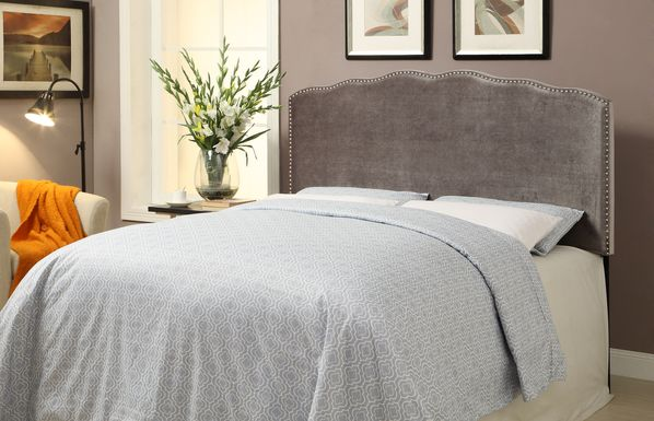 Amia Silver King Upholstered Headboard