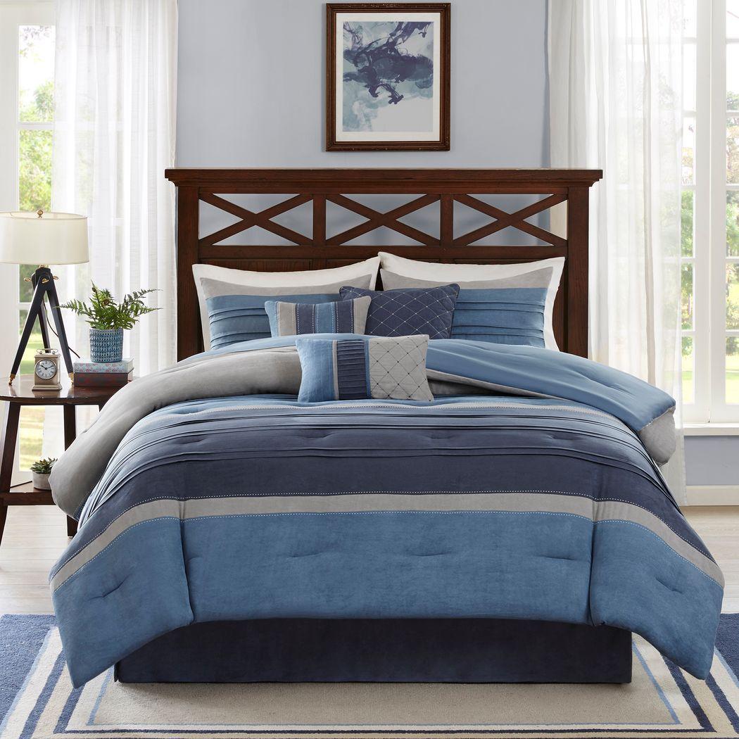 Amiah Navy 7 Pc California King Comforter Set
