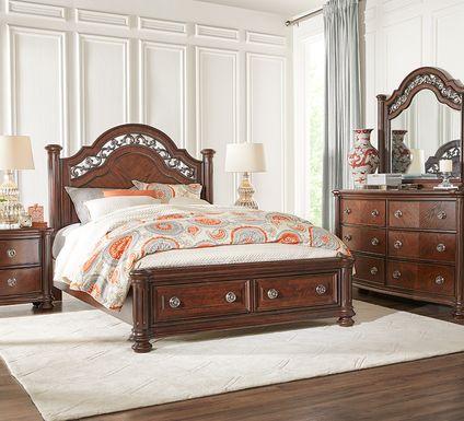 Anastasia Brown 5 Pc King Panel Bedroom with Storage