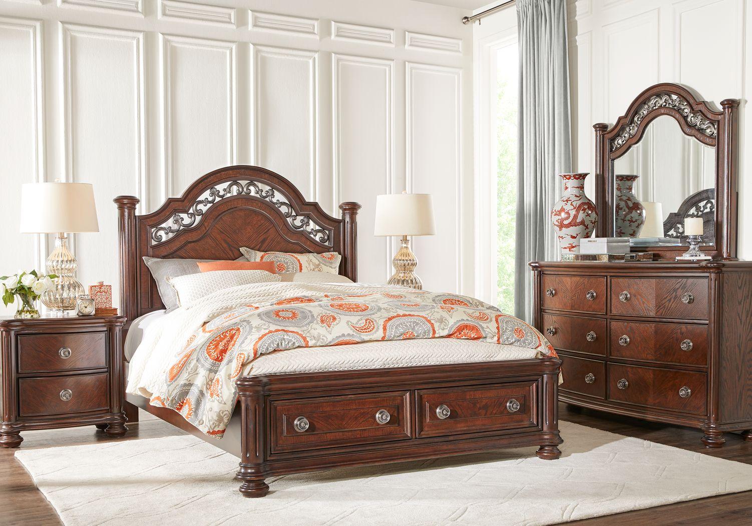 Anastasia Brown 7 Pc Queen Panel Bedroom with Storage