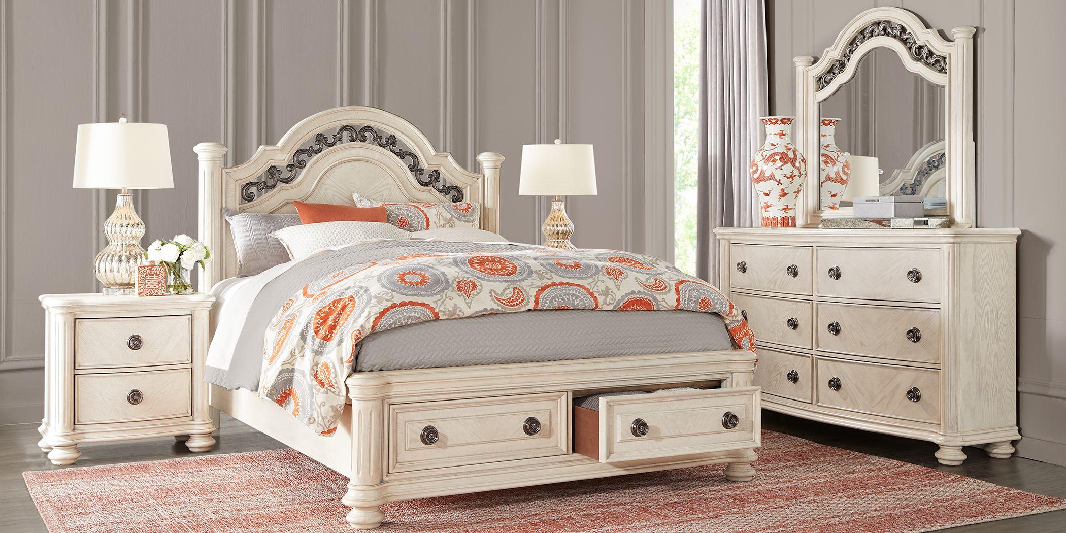 Anastasia White 5 Pc King Panel Bedroom with Storage