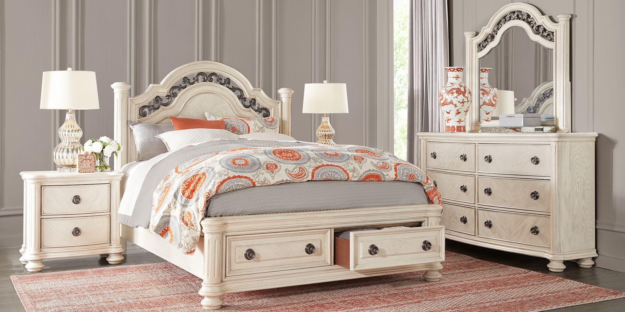 Anastasia White 5 Pc Queen Panel Bedroom with Storage