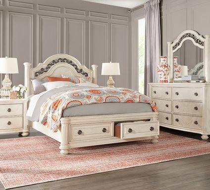 Anastasia White 7 Pc Queen Panel Bedroom with Storage