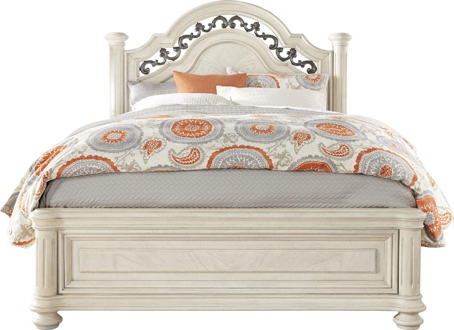 Anastasia White 3 Pc Queen Panel Bed
