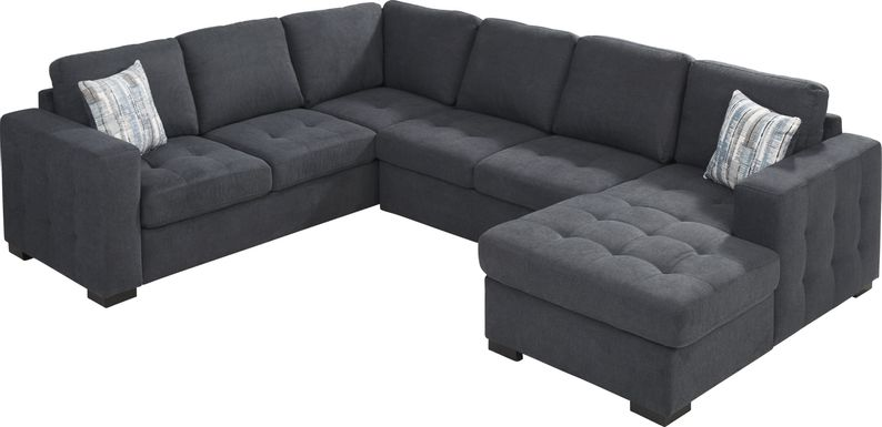 Angelino Heights Blue 3 Pc Sleeper Sectional