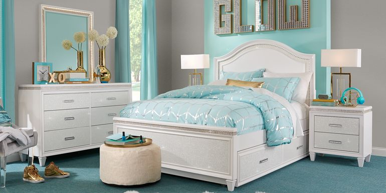Gray & Blue Room Featuring Angelique White 5 Pc Full Panel Bedroom Set