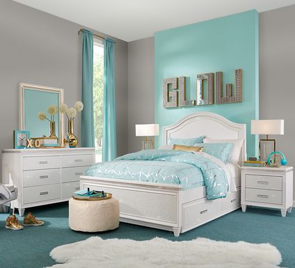 Angelique White 5 Pc Twin Panel Bedroom