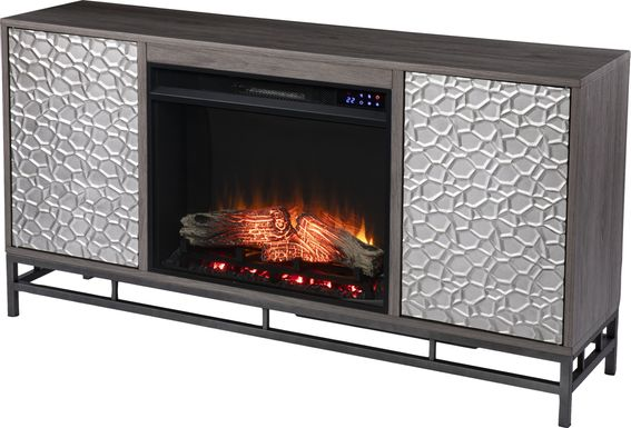 Angevine II Gray 54 in. Console, With Electric Log Fireplace