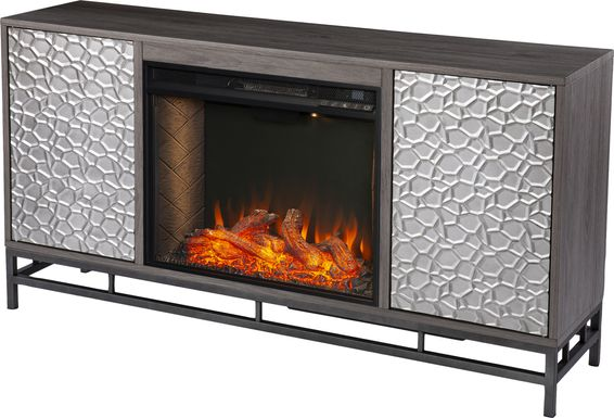 Angevine III Gray 54 in. Console, With Smart Electric Fireplace