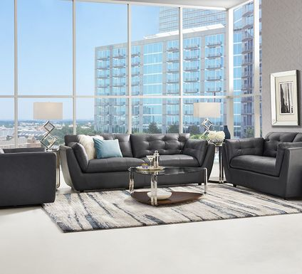 Aragon Blue Leather 5 Pc Living Room