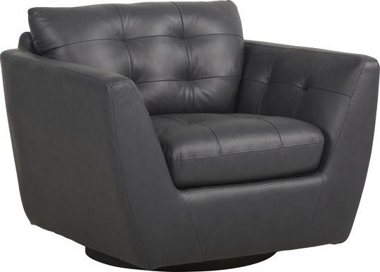 Aragon Blue Leather Swivel Chair