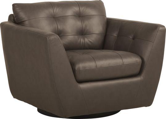 Aragon Brown Leather Swivel Chair