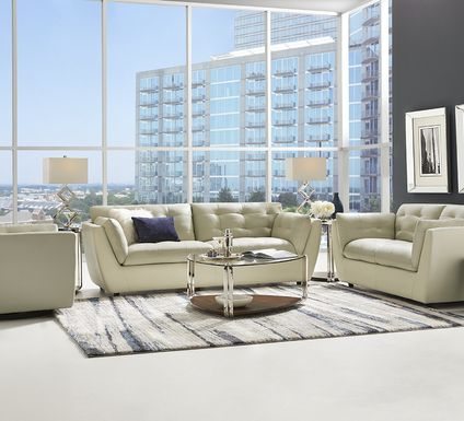 Aragon Platinum Leather 3 Pc Living Room