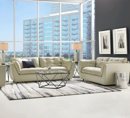 Aragon Platinum Leather 6 Pc Living Room